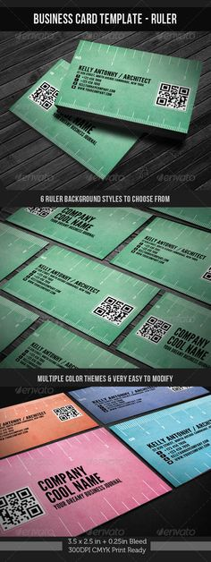 Corporate Business Card Template - Ruler #GraphicRiver [Corporate Business Card Template – Ruler with QR(Quick Response) code] 3.5×2.5in + 0.25in Bleed 300DPI CMYK Print Ready Biz card: psd files (front/back) Very easy to change color and 6 pre-made ruler-styles to choose from [ Featured Items] [Wedding Invitation/ Greeting Card] Wedding Invitation Package Corporate/Anniversary Invitation Template Baby Shower/Announcement CARD Template Night Club Flyer Corporate Identity Package + Business…