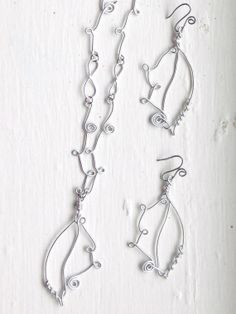 Wire Leaf Necklace and Earring Set by BeadJewelledDesign on Etsy, $29.99