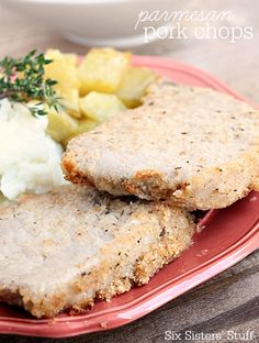 Parmesan Pork Chops - a simple meal for those really busy days | SixSistersStuff.com
