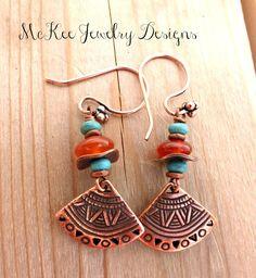 Copper, turquoise and orange stone fan earrings. Bohemian jewelry.