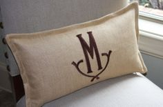 Monogram Initial Pillow /  Tan Woven Linen / 10x18. $52.00, via Etsy.