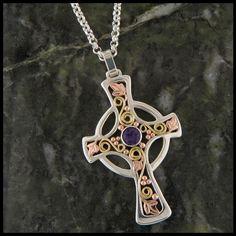 Celtic Cross Pendant with Amethyst
