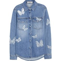 Valentino Blue butterfly-appliquéd denim shirt (£1,730) ❤ liked on Polyvore featuring tops, valentino shirt, denim shirts, butterfly print shirt, snap button shirts and shirt top