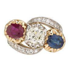 Edwardian Sapphire Ruby Old Mine Cut Diamond Gold Platinum Ring