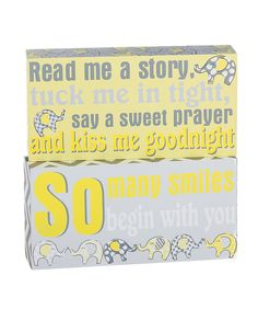 Another great find on #zulily! Blossoms & Buds Gray & Yellow Elephant Block Sign Set by Blossoms & Buds #zulilyfinds