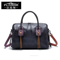 6a5a61346a Office Women s Handbags Messenger Bag 2018 Handmade Genuine Leather  Shoulder Sling Bags Lady Top-handle Tote Portable Hand Bag Review