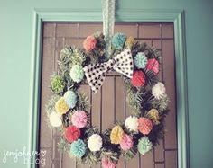 Pretty pom pom wreath! Clever! via junkgarden