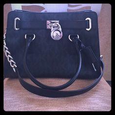MICHAEL KORS HAMILTON MONOGRAM  Black & gray, 12L x 9H x 5W Michael Kors Bags Shoulder Bags