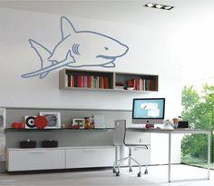 Vinilo decorativo de la silueta de un tiburón blanco.