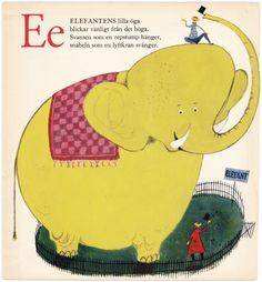 Vintage STIG LINDBERG Elephant illustration Swedish children's book page Letter E 1953 - Free U.S. shipping