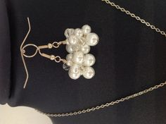 Cluster glass pearl earrings