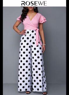 Short Butterfly Sleeve Polka Dot Print Jumpsuit - Jumpsuits and Romper Printed Jumpsuit, Black Jumpsuit, Polka Dot Print, Fashion Looks, African Fashion, Fashion Dresses, Fashion Clothes, Stylish Dresses, Ideias Fashion