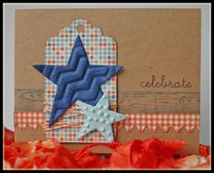 Masculine Celebrate Card - Scrapbook.com.  Like the tag and textured stars.
