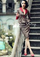 Le Palais Vintage Elegant retro sexy Leopard print pencil skirt set waist coat set contrast color stitching small suit LPV043