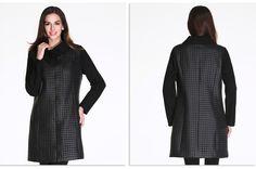 Астрид 2016 Новое поступление женское пальто больших размеров модный вид трикотажный рукав и вороник куртка для полных женщин верхняя одежда демисезонная L 5XL AM 2256 купить на AliExpress