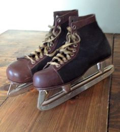 Well Used 1950's, Black & Brown,Leather,Ice Skates,Union Hardware, Made in USA, Men's Hockey, Size 9 Flying Clipper H Lodge Rustic Skating by Piklandia on Etsy
