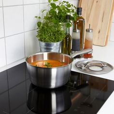 SENSUELL Saucepan with lid, stainless steel, gray. Read about the terms in the Limited Warranty brochure. Glass Ceramic, Tapas, Stainless Steel Pans, Recycling Facility, Electric Cooktop, What Recipe, Glass Cooktop, Silicone Rubber, Lava
