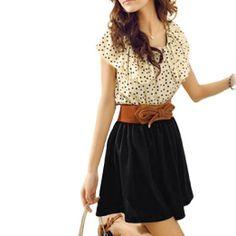 Amazon.com: Women Dots Print Flouncing Patchwork Dress: Clothing