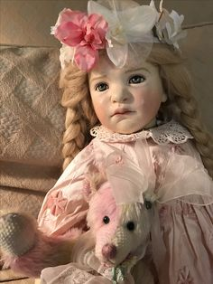 Ella Hass OOAK doll with a cute bear