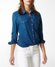 this is a fun take on the denim shirt for Spring that's a brighter sky blue.  Love this!