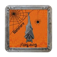 Gone Batty First or Last Name! Set of 6 Cork Coasters, Drink Coasters, Creepy Halloween Decorations, Fall Decor, Design, Spooky Halloween Decorations, Design Comics