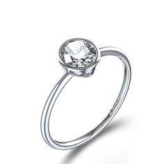 Ovaler 14kt Weißgold Diamantring in Zargenfassung