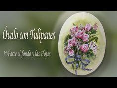 Pintar un óvalo con tulipanes. Primera parte: el fondo y las hojas - YouTube