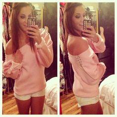 comfy pink one shoulder sweater <3