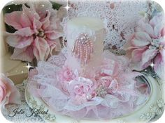 New decorated candle a lovely lady requested. Pink Crafts, Candle Holders, Shabby, Candles, Cake, Beautiful, Design, Decor, Decoration