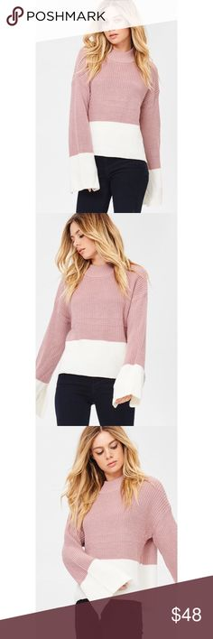 """Michelle Color Block Mauve Sweater There's nothing better than a perfect mauve for your Winter outfit. Grab the super soft Michelle Color Block Mauve Sweater for your collection.  Model size: Height 5'8"""" and wears a small  Length: 25"""" From HPS to Hemline (Small Size)  80% ACRYLIC 20% COTTON . . . If you would like to make an offer, please use the OFFER BUTTON. {10% discount on all 2+ orders} . . FOLLOW US✌️ Insta : @likenarly Facebook: likenarly likeNarly Sweaters"""