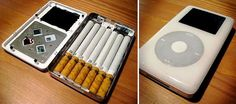 Awesome repurposing idea for smokers. Convert old Ipods or Iphones into cigarette cases.