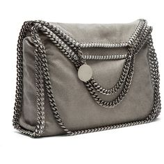 Stella McCartney Small Falabella Fold Over Tote (3045 QAR) ❤ liked on Polyvore featuring bags, handbags, tote bags, brown tote, metallic handbags, handbag purse, brown tote handbags and metallic tote bag