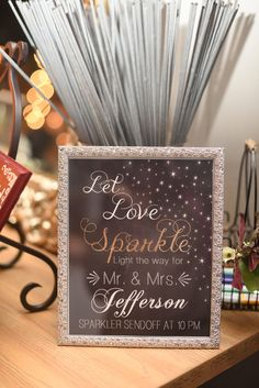 Let love GLOW bright Black Sign with Sparklers for Reception Exit