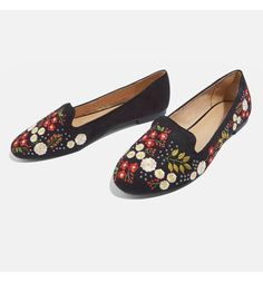 Make any look more feminine and flowery with these soft faux suede smoking slippers featuring floral embroidery and edgy round studs.