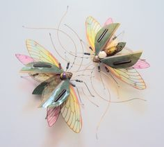 Two Entwined Dancing Bugs, Circuit Board Insects by Julie Alice Chappell by DewLeaf on Etsy