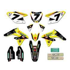 Enjoy MFG 2008-2015 RMZ 450 Team Yoshimura Suzuki Graphics Kit and Custom Number Plates Bundle  Enjoy MFG 2008-2015 RMZ 450 Team Yoshimura Suzuki Graphics Kit and Custom Number Plates Bundle Graphics Kit Includes: - Air Box - Swing Arms - Fork Guards - Rear Fender - Front Fender Tip - Motorex Front Fender Stickers - Left and Right Shrouds, Front, and Side Number Plates. Please message us with your custom number plate details, and include the following: 1) What number would you like p..