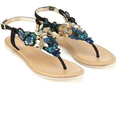 The Styling Up stylists recommend: Accessorize Midnight Butterfly Sandals Black. Clothing for your body type, shape and size. Find dresses, jeans, jackets, accessories and shoes. Cute Sandals, Cute Shoes, Me Too Shoes, Shoes Sandals, Pretty Sandals, Summer Sandals, Black Flats Shoes, New Shoes, Black Sandals