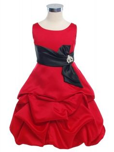 Red Rich Satin Short Pick Up Girl Dress with Black Sash (Sizes Infants to 14) for Michelle