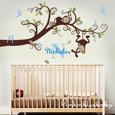 Baby Boy Nursery Decor : Branch Tree, Boy Monkeys and Custom Name - Nursery Wall Decal on Etsy, $112.00