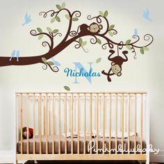 Wall Decals Monkeys On Branch Baby Boy Nursery