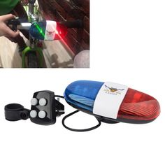 Bicycle Accessories 6LED 4Tone Sounds Bicycle Bell Bike Bell PoliceCar Light Electronic Horn Siren for Kid's Bicycle/Scooter
