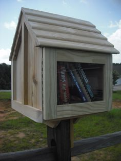 Little house on a stick library neighborhood book box fully assembled with post mount cedar best quality at the lowest price by WalltoWallWoodworks on Etsy