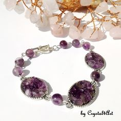 """The """"Purple"""" bracelet is handmade with amethyst crystals applied on antique silver metallic bases and amethyst 8 mm beads. See more of my creations on Amethyst Crystal, Antique Silver, Jewerly, Pearl Necklace, Metallic, Pearls, Antiques, Purple, Bracelets"""