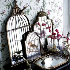 HOME ACCENTS:  Antique birdcage mirrors