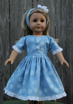 American Girl Doll Dress - American Girl Doll Clothes - 18 Inch Doll - Our Generation Doll - Dolly and Me - Blue Snowflake Dress With Matching Headband - Justforfunstitches.etsy.com