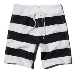 Abercrombie & Fitch Classic Fit Boardshorts ($20) ❤ liked on Polyvore featuring men's fashion, men's clothing, men's swimwear and black stripe