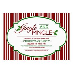 Jingle and Mingle Company Corporate Business Christmas Party Invitation Cards Fun office/company party invitations you personalize for your big holiday event