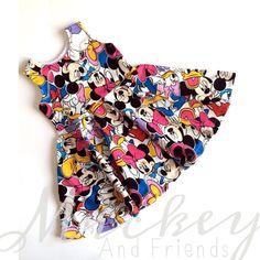 Mickey & Friends Inspired Children's Disney Dress! Tank Top Circle Skirt Dress w Minnie, Donald, Daisy. Birthday Girls Toddler Infant Baby by TheGypsyGeek on Etsy https://www.etsy.com/listing/276586440/mickey-friends-inspired-childrens-disney