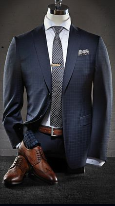 Power Blue Suit, Patterned Tie + Brown Shoes.