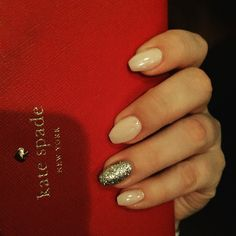 Short acrylic coffin nails in a light pink with a silver accent nail! #coffinnails #acrylic #katespade